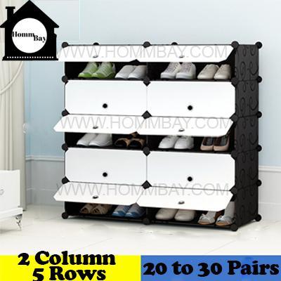 DIY Shoe Shoes Rack Storage Drawers Multi Purpose Modular Organizer Plastic Cabinets I BFW Series I 2 Column 5 Rows