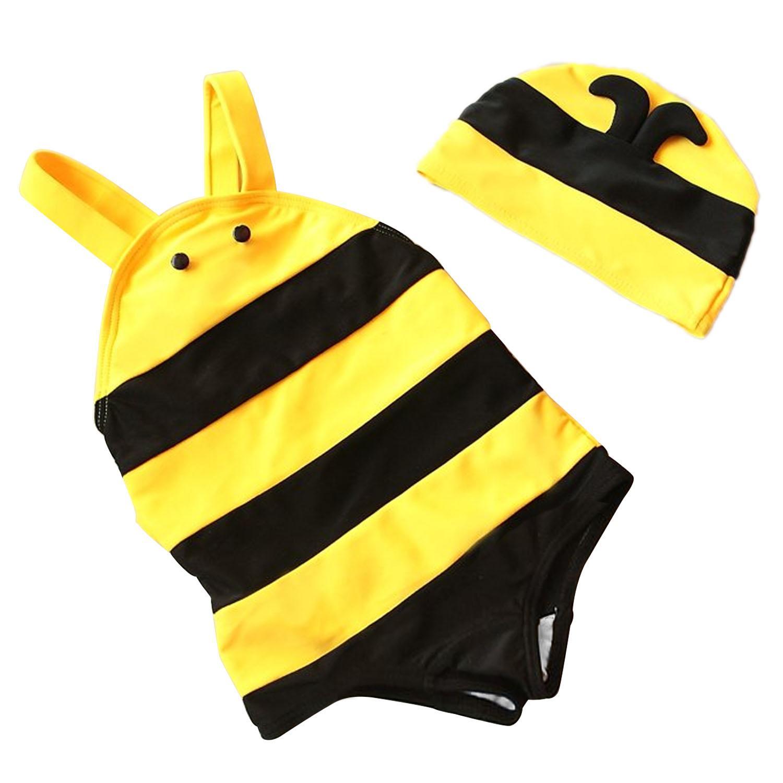 7039376d36 Kids Baby Girls Cute Bee-style One Piece Swimsuit Swimwear Swimming Costume  with Swimming Cap