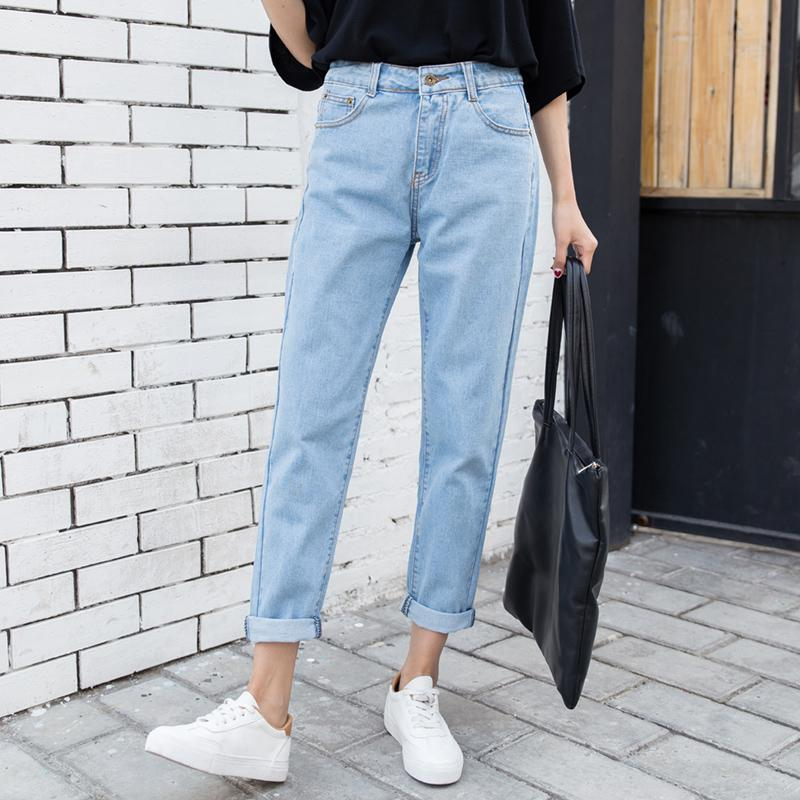 8a1c476990f With Holes High-waisted Loose Slimming Versatile Korean Style Straight Jeans  Women s Ninth Pants Leisure