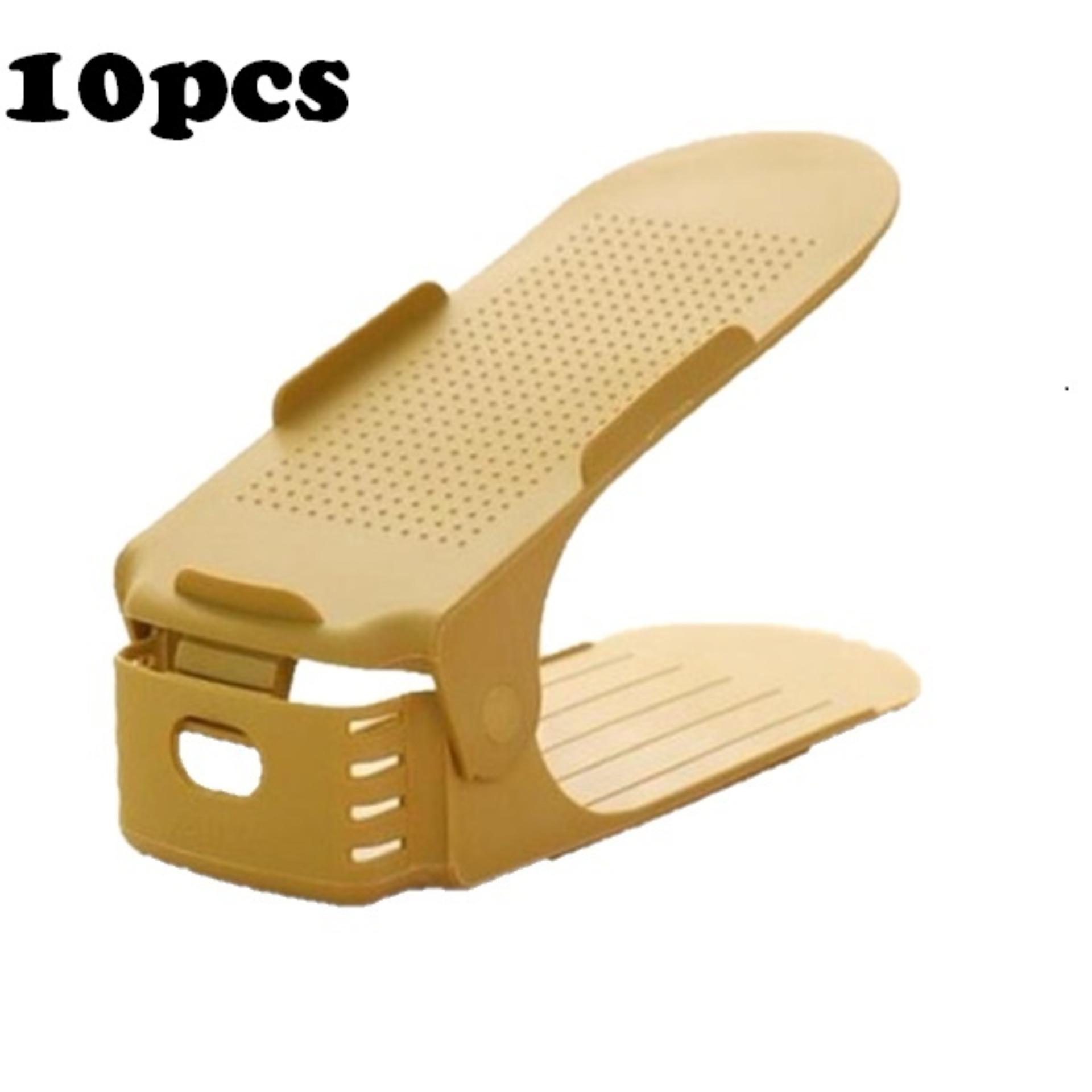 Retail Price 10Pcs Creative High Heel Shoes Organizer Adjustable Shoes Racks Space Saving Plastic Storage Rack Khaki Intl