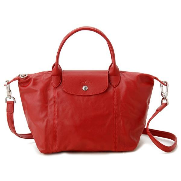 Longchamp 1512 Le Pliage Leather Cuir Satchel Cherry Longchamp Cheap On Singapore