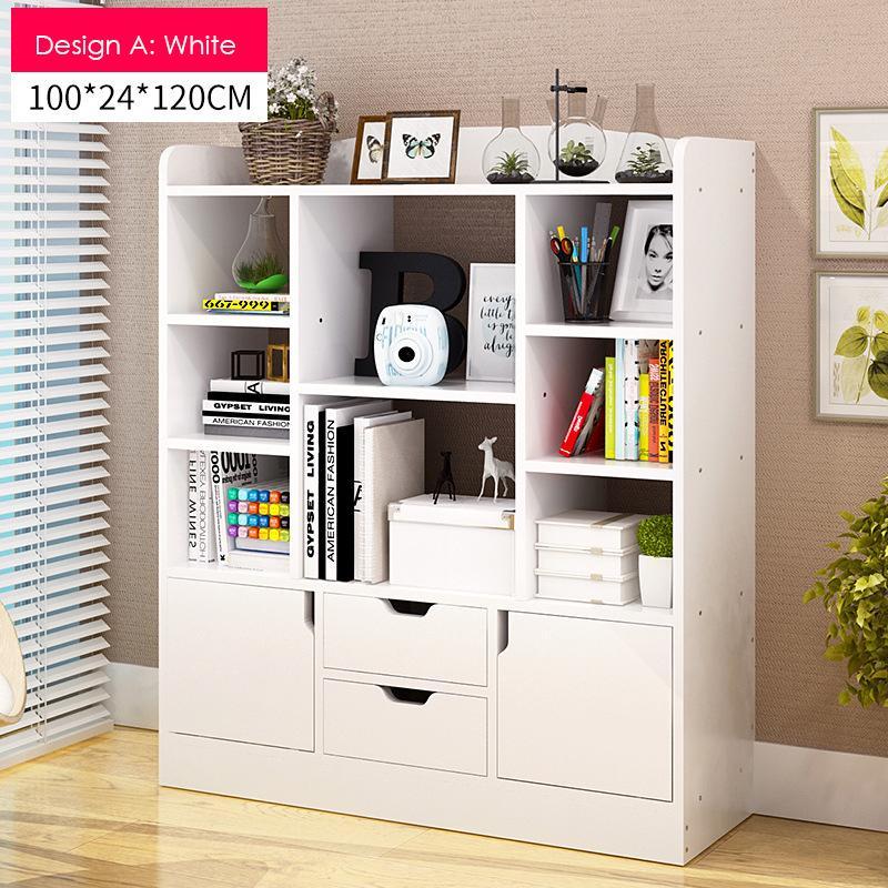 white Multi-Purpose Wooden Book Shelf - Design A
