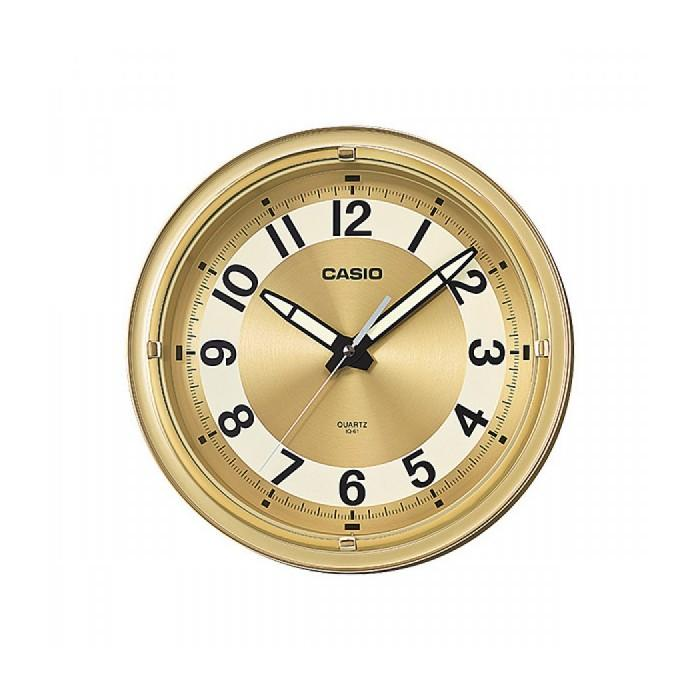 Casio IQ-61-9 Stylish Timekeeping in a Gold Round Analog Wall Clock