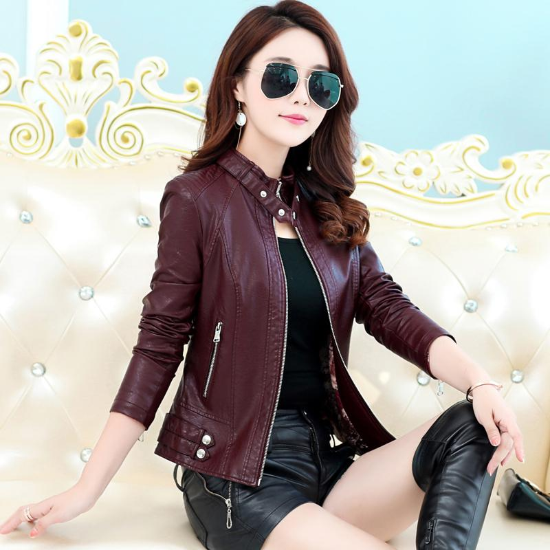 2019 Spring And Autumn New Style Haining Leather Coat Female Short Korean Style Slim Fit Stand Collar Locomotive Leather Jacket Large Size Thick Coat By Taobao Collection.