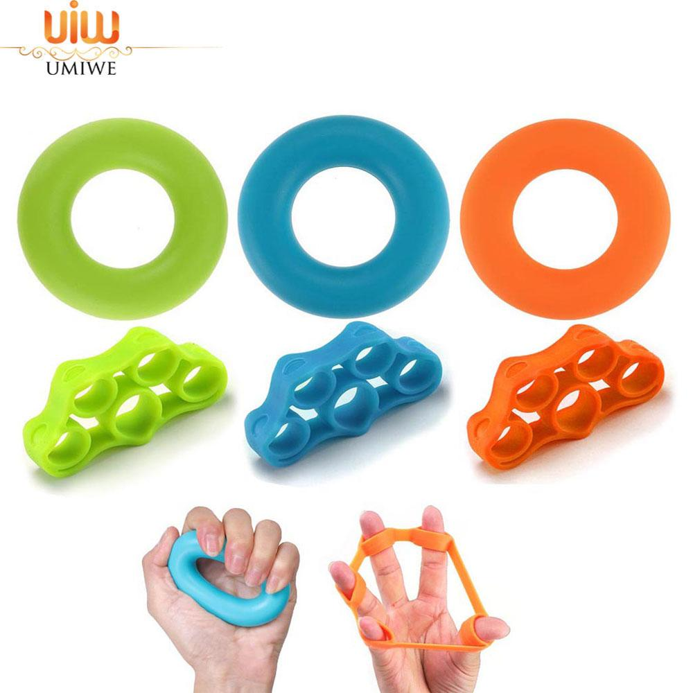Umiwe 6pcs/Lot Muscle Power Training Silicone Grip Ring Exerciser Strength Finger Hands Grip Fitness