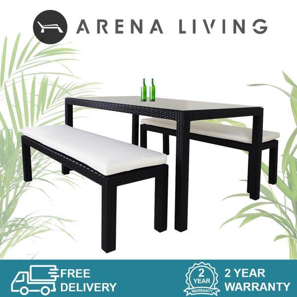 Bondi 2 Bench Dining Set White Cushion, Outdoor Furniture by Arena Living