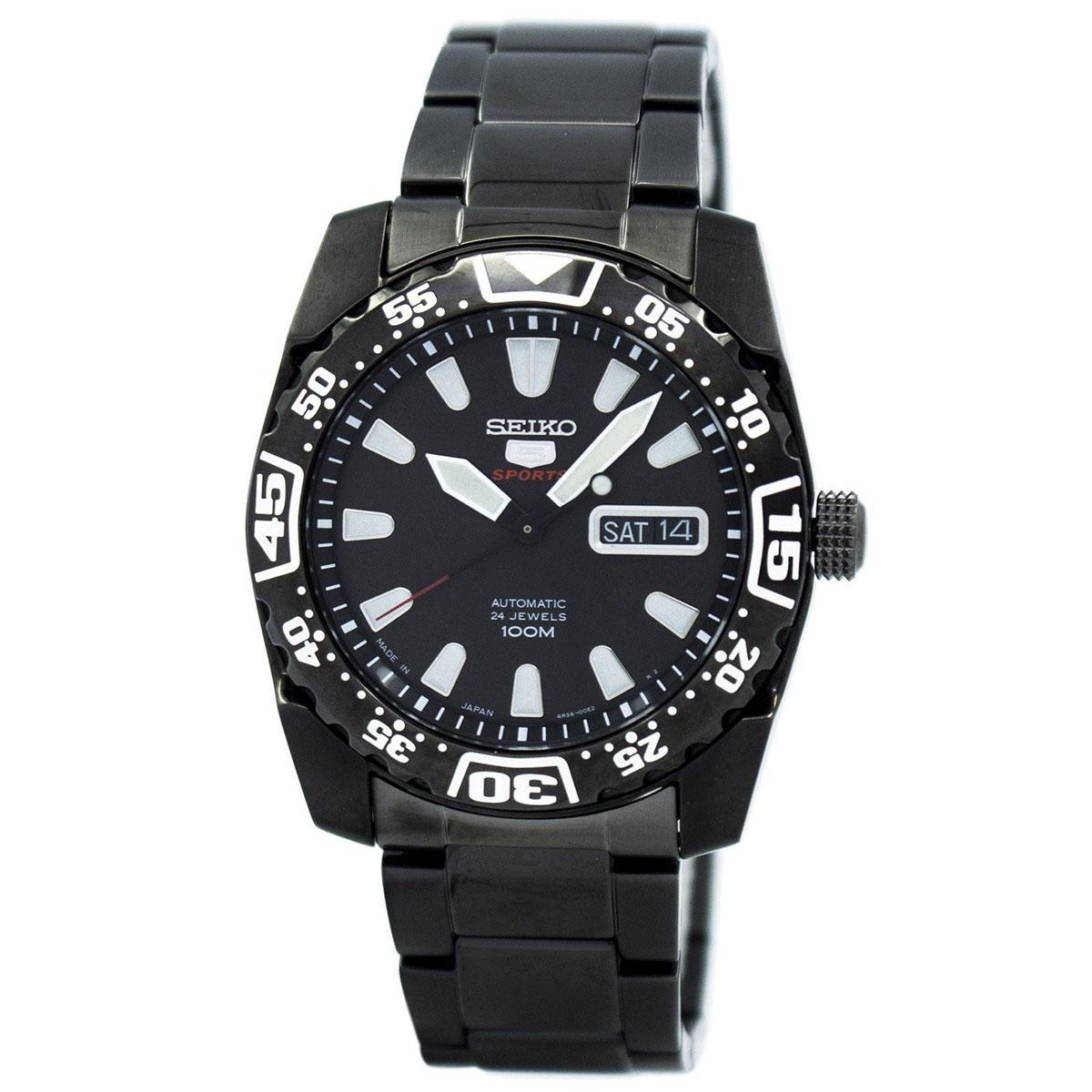 Seiko 5 Sports Black Stainless-Steel Case Stainless-Steel Bracelet Mens JAPAN SRP169J1