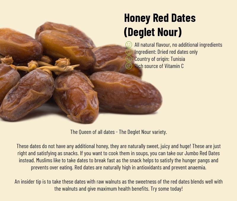 Honey Red Dates 1kg ( Premium Deglet Nour variety, wholesale quality!)