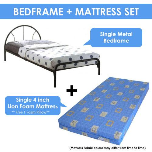 [A-STAR]  Cheapest Single Sleek Metal Bed frame + Mattress Set