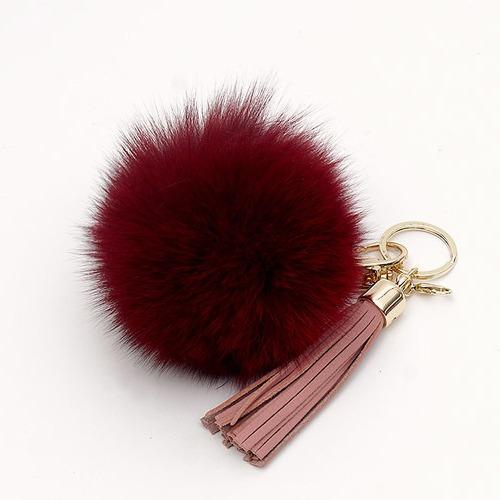 Buy Real Fox Fur Ball With Tassel Bag Charm Keychain Key Ring Fromb
