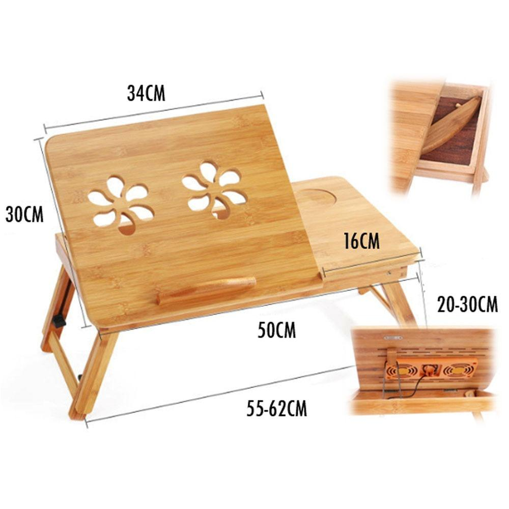 Bamboo Adjustable Laptop Table Cooling Fan Drawers Size 50 X 30【Cm】 Laptop Table Best Price