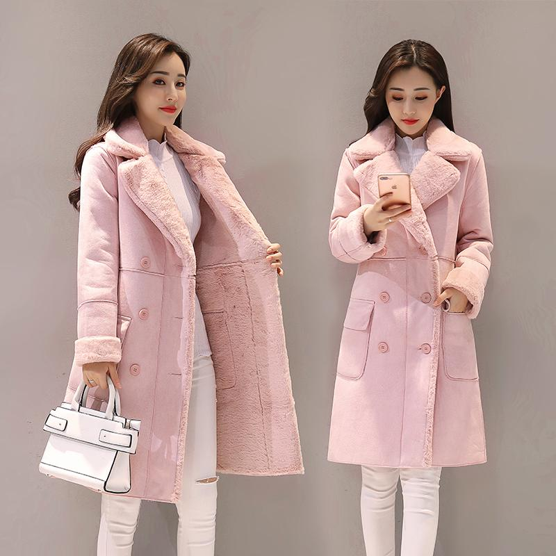 Suede Lambs Wool Coat Female Winter 2019 New Style Mid-Length Brushed And Thick Cotton Coat Fur Cotton-Padded Clothes By Taobao Collection.
