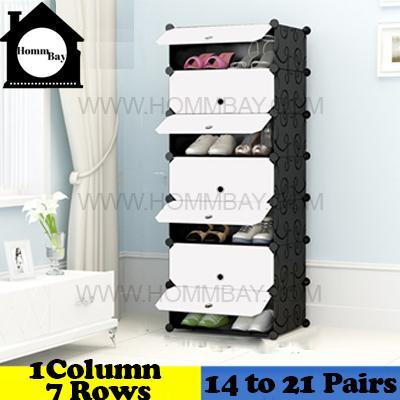 DIY Shoe Shoes Rack Storage Drawers Multi Purpose Modular Organizer Plastic Cabinets I BFW Series I 1 Column 7 Rows