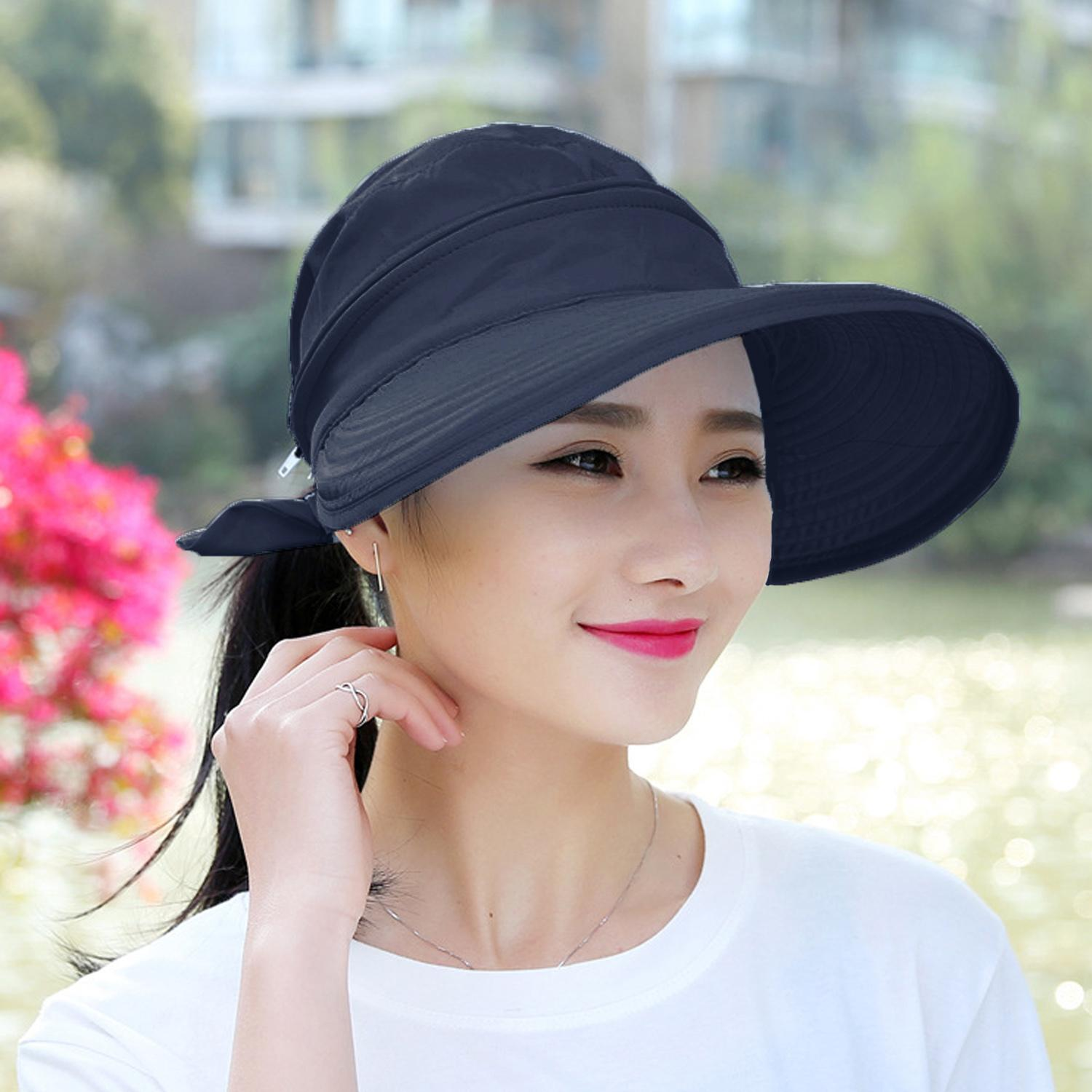 c275aa5f07e16 Women Stylish Wide Brim Summer Outdoor Beach Bucket Sun Hat Cap Sun Block  Detachable Dual Use