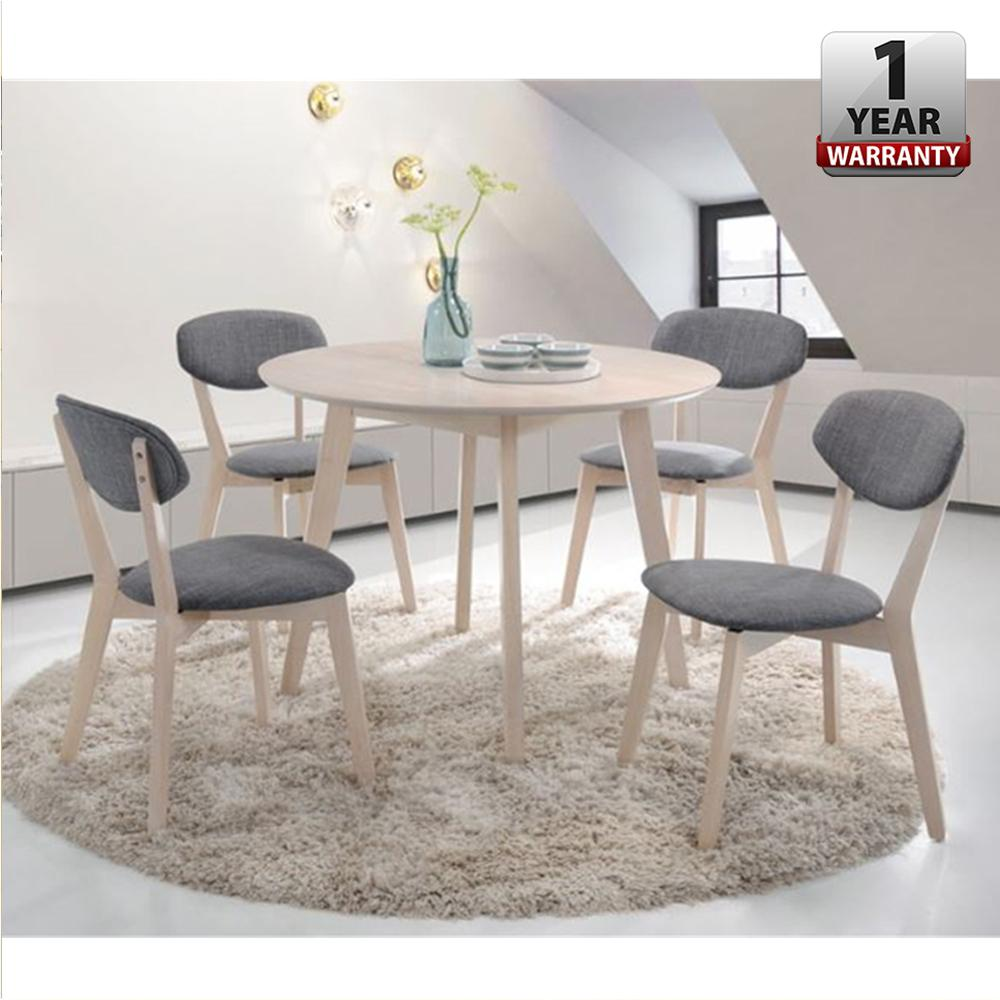 MASON [100cm] Viera Round Solid Wood Dining Table With 4 Dining Chair Set