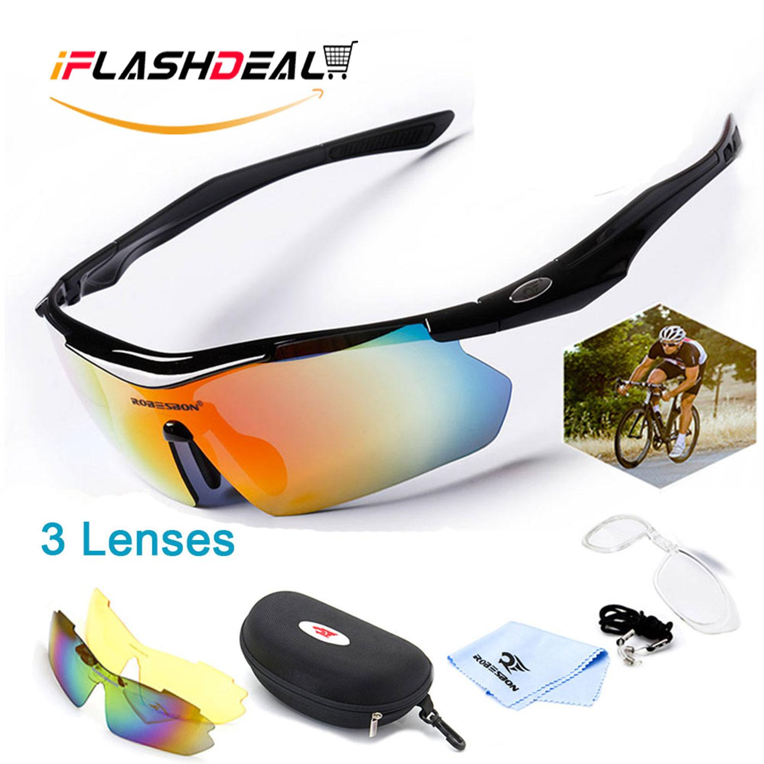 Iflashdeal Men Sports Sunglasses Outdoor Sport Driving Male Women Sun Glasses Cycling Riding Running Glasses With 3 Interchangeable Lenses By Iflashdeal.
