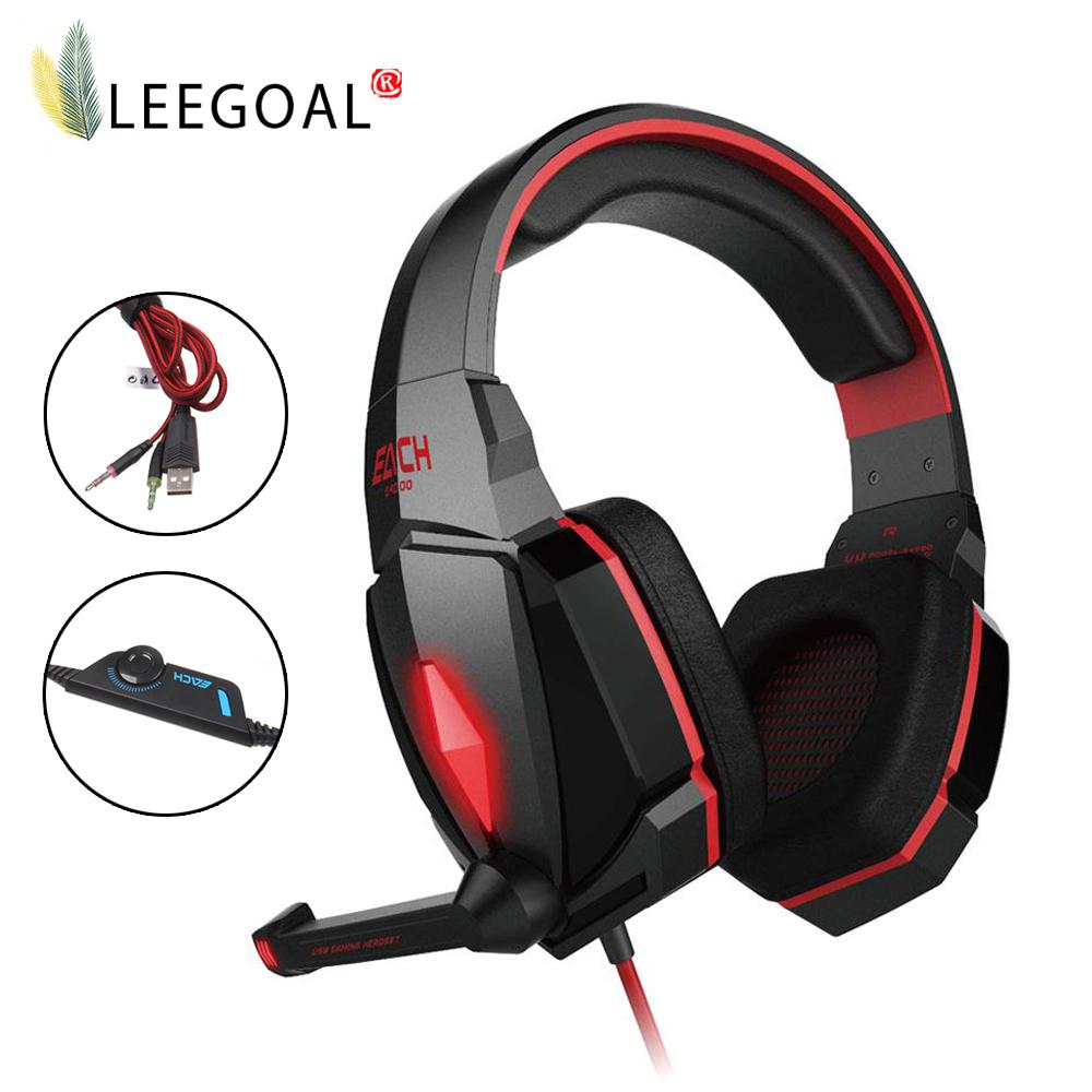 Leegoal Professional PC/Phone  Gaming Stereo Headset Noise Cancelling Headphones With Microphone (Red) - intl