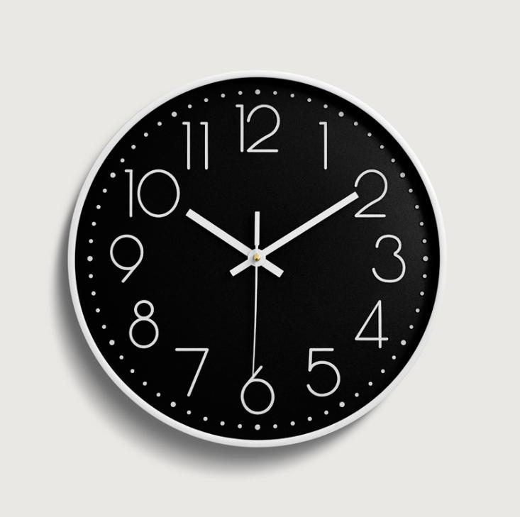 Wall Clock Minimalist with Modern and Nice Design for Living Room Large Kitchen Wall Clock Battery Operated (Black)
