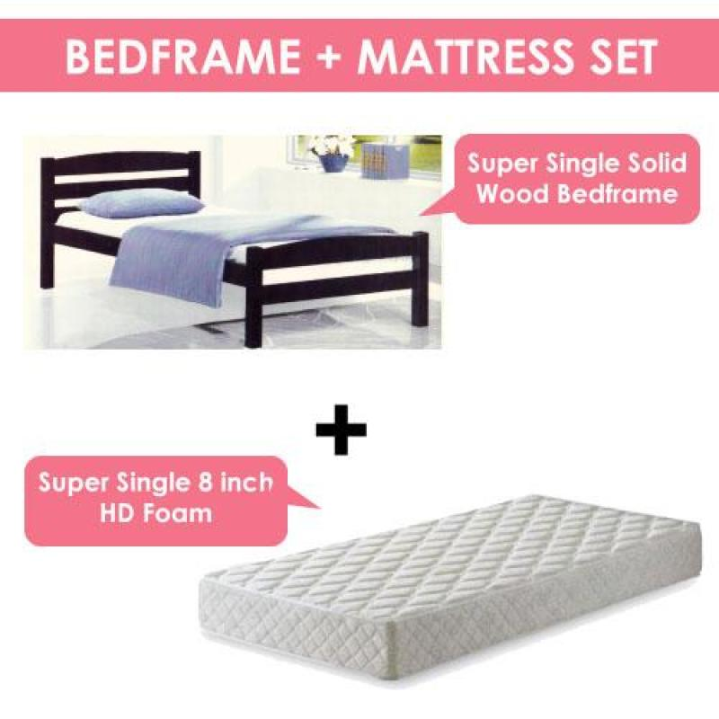 [A-STAR] Minnie Solid Wooden Bed in Super Single size + Mattress
