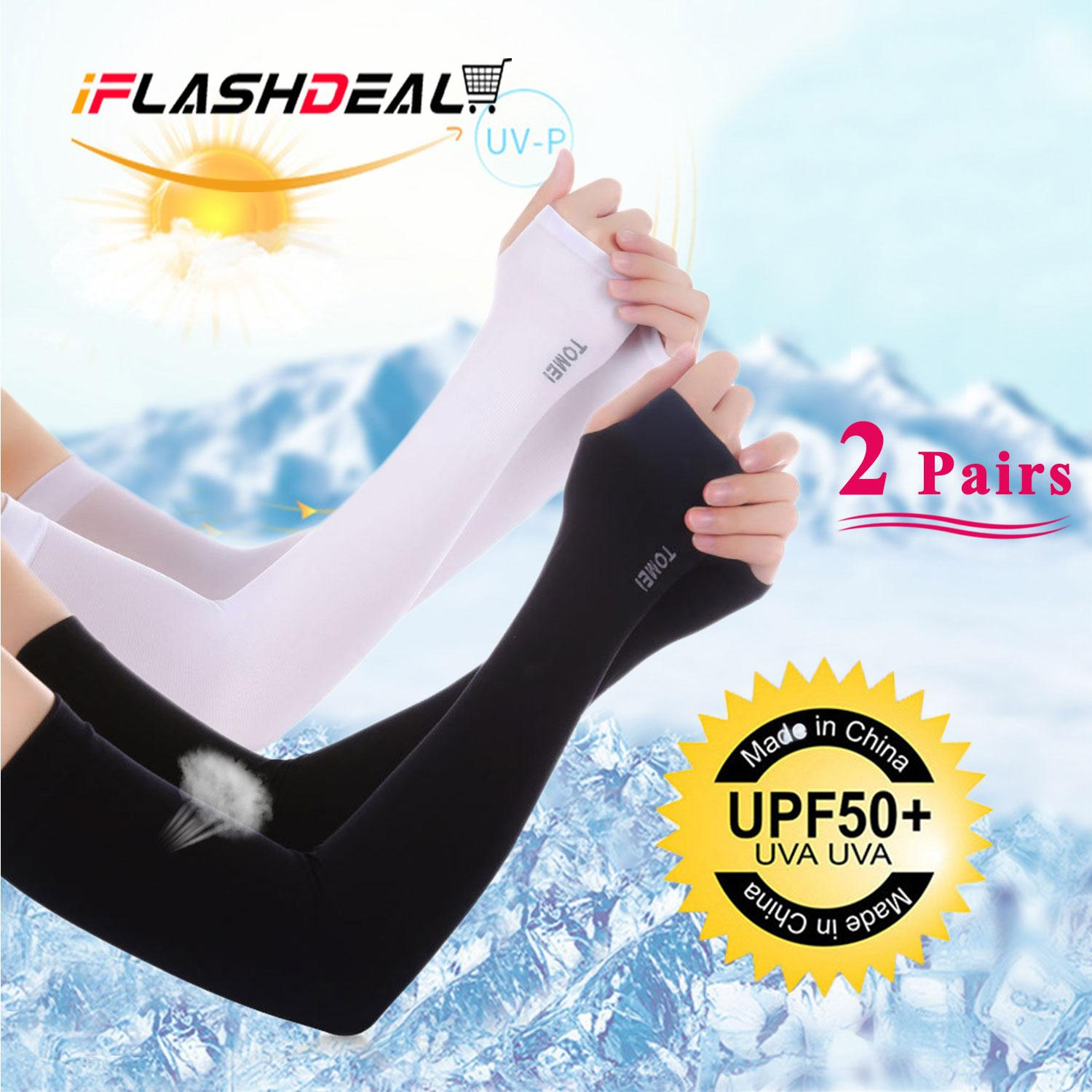 Iflashdeal 2 Pairs Men Women Arm Sleeves Cover Uv Sunlight Protection Sunscreen Cuff Sleeve Bike Cycling Motorcycle Driving Sport Outdoor Sunlight By Iflashdeal.