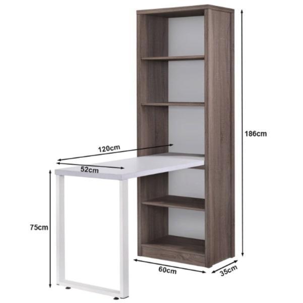 Dora Compact Study Desk with Bookshelf
