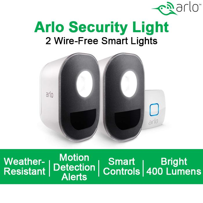 Arlo Smart Home Security Light  Wireless, Weather Resistant, Motion Sensor,  Indoor/Outdoor, Multi-colored LED, Works with Amazon Alexa | 2 Light Kit,