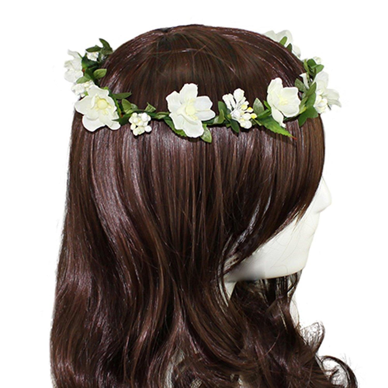 Flower crown headband white price in singapore xmas decor flower headband garland crown festival wedding hair wreath boho floral headband white izmirmasajfo