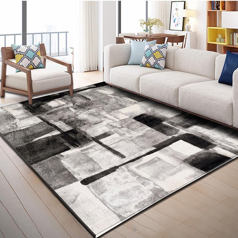 Nordic Abstract Living Room Carpet Modern Simplified American Tea Table Mat Bedroom Bedside Model Dirty Water Wash Baby Play Mat 120x160cm