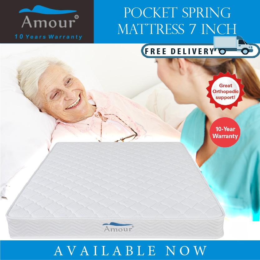 AMOUR BRAND 8 inch Single Size/Super Single/Queen Size Pocket Spring Mattress 10 Years Warranty Best in Lazada