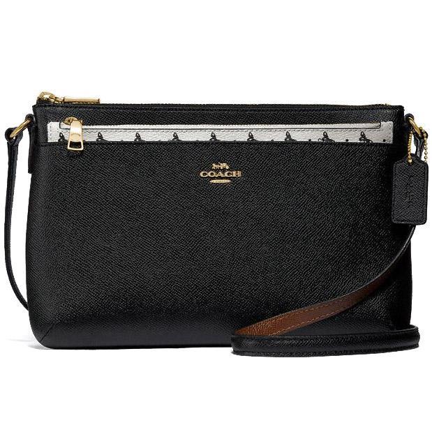f2343b4ba1 Coach Butterfly Dot East   West Crossbody With Pop-Up Pouch In Crossgrain  Leather Handbag