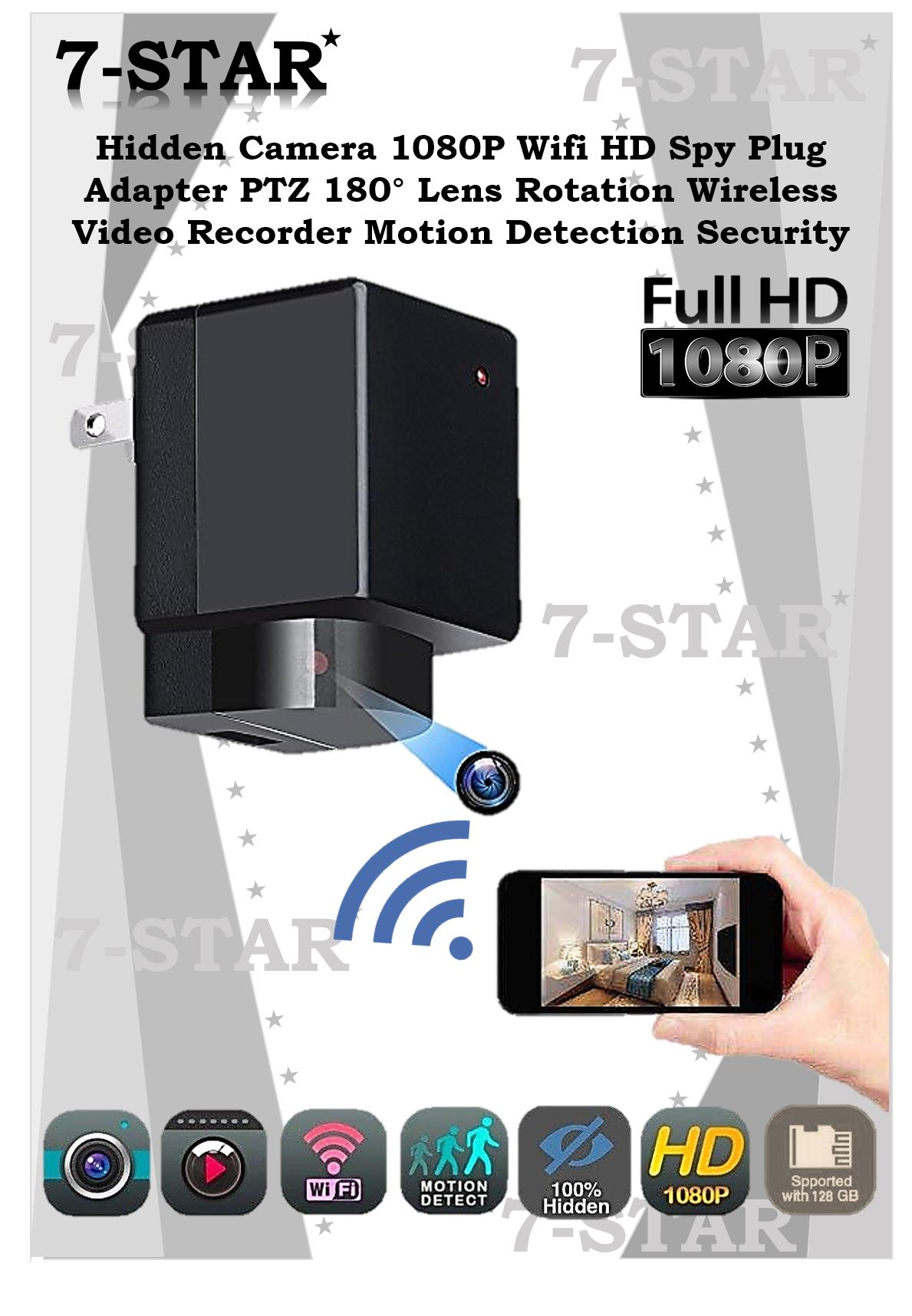 Hidden Camera Full-HD 1080P Wifi Spy Plug Charger Adaptor PTZ 180° Rotating  Lens Rotation Wireless Video Recorder Motion Detection Security IP Spy