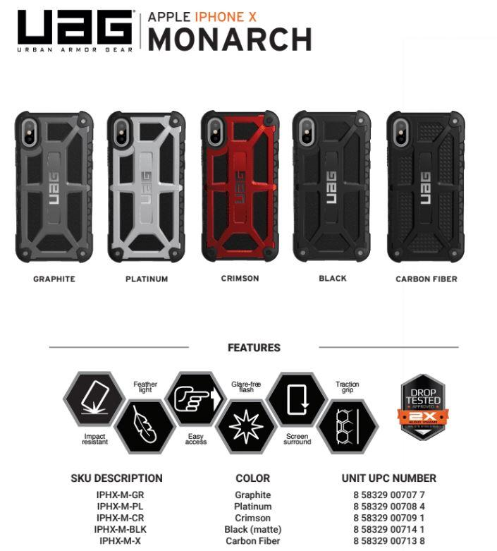 b3e317b105e Specifications of UAG MONARCH SERIES IPHONE X CASE Compatible with iPhone  Xs / iPhone X (5.8-inch)