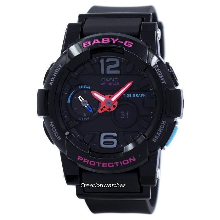 Cheapest Casio Baby G Shock Resistant Tide Graph Analog Digital Women S Black Resin Strap Watch Bga 180 1B