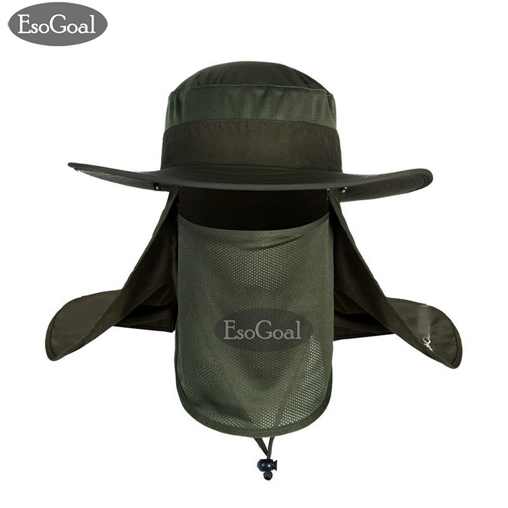 5690a8840cf EsoGoal Summer Sun Hat Protection Caps Flap 360°Outdoor Fishing Hat with  Removable Neck Face