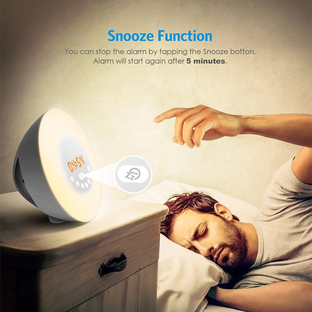 Wake Up Light Sunrise Sunset Simulation Alarm Clock 7 Colors Atmosphere Lamp - intl