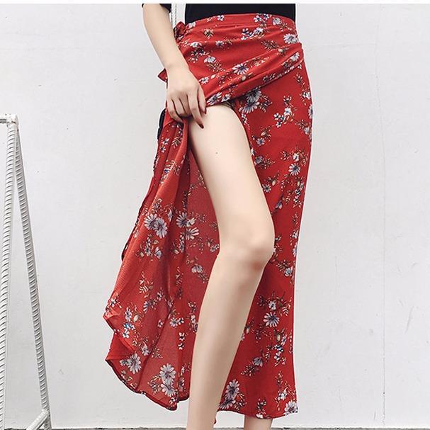 Discount Chiffon Wranp Skirt Red Chrysanthemum