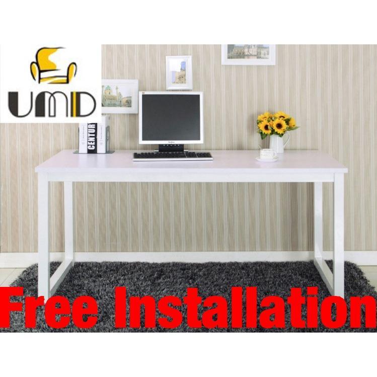 UMD(120*60*75CM) Designer Study Table Study Desk Computer Table White Frame