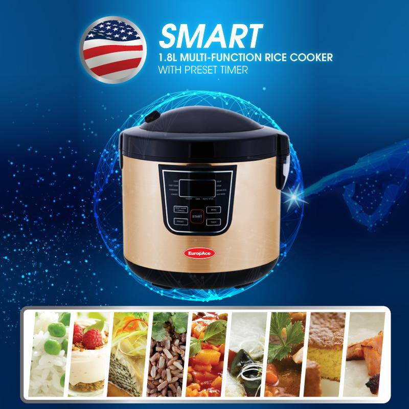 Europace 1.8l Smart Rice Cooker With Preset Timer - All In One (rice/ Yogurt / Steam / Pasta / Brown Rice / Soup / Congee / Stew / Cake / Porridge / Fast Cooking / Keep Warm).