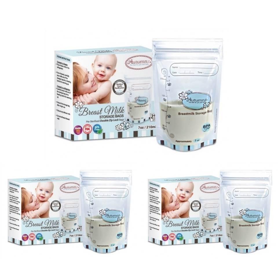 Buy 3X25Pcs Autumnz Breast Milk Breastmilk Storage Bags 7Oz 210Ml Online Singapore