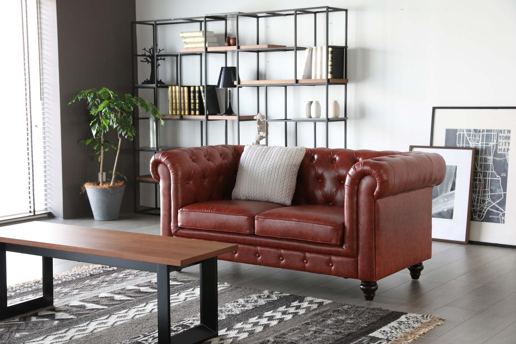 Hugo Chesterfield Sofa - Vintage Brown Leather