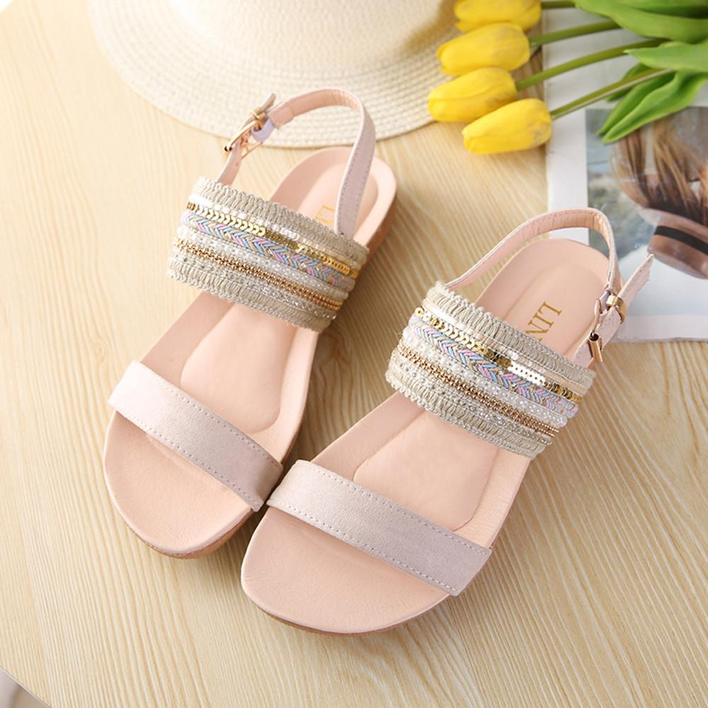40f06bfc2 nagostore Women Bohemia Slippers Flip Flops Flat Sandals Toe Beach Gladiator  Ankle Shoes - intl