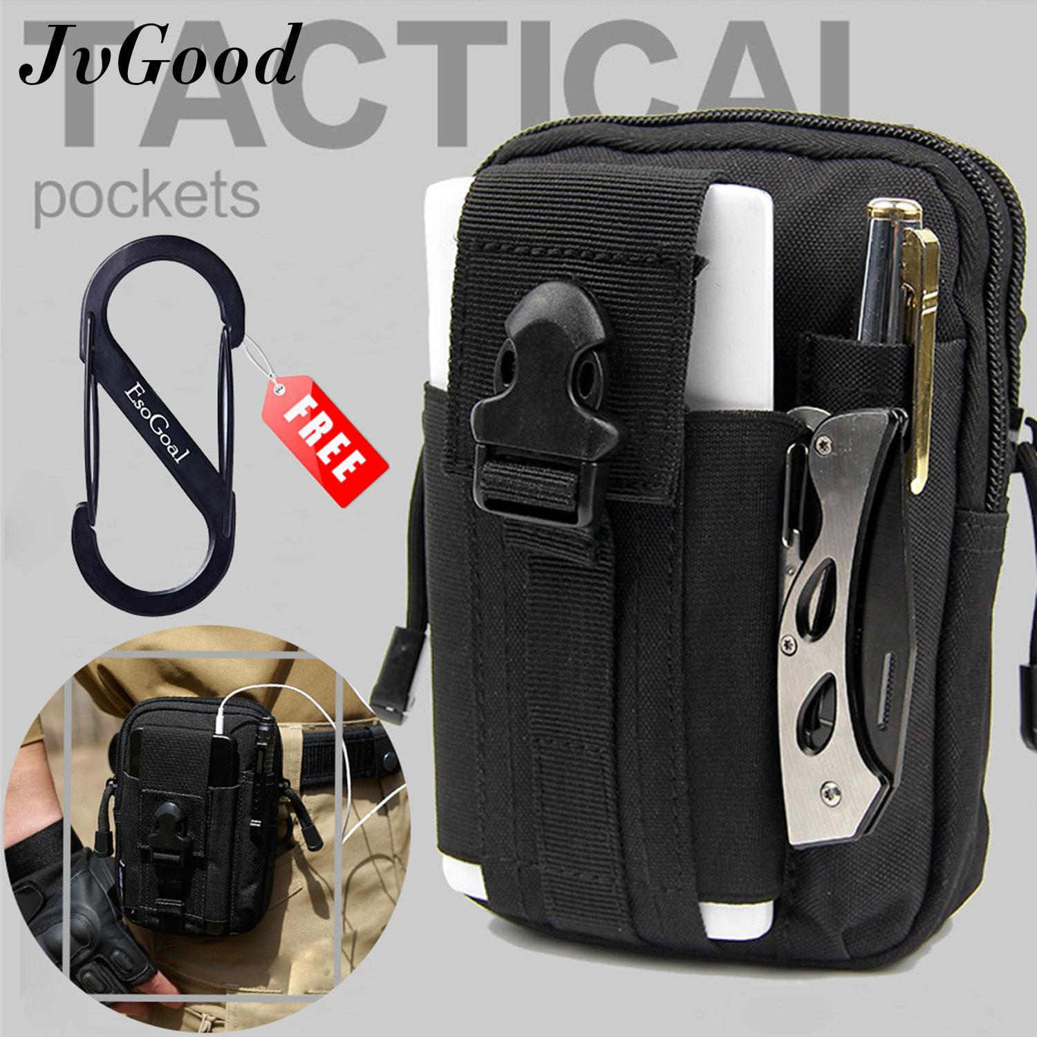 Jvgood Tactical Molle Pouch, Edc Utility Waist Belt Gadget Gear Bag Tool Organizer With Cell Phone Holster Holder (black) By Jvgood.