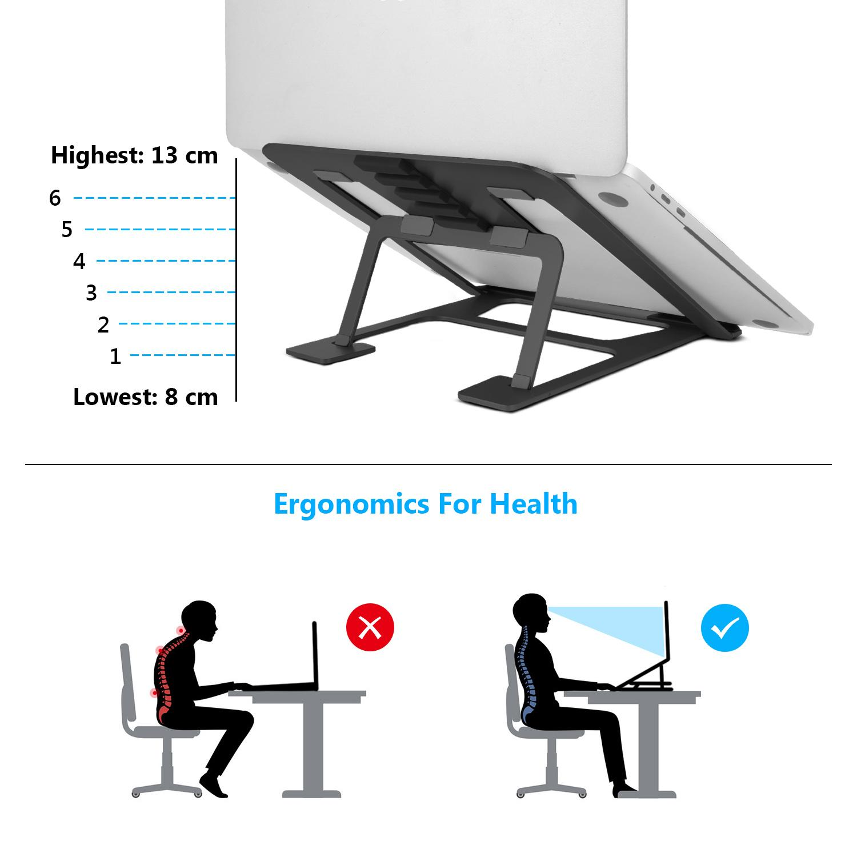 SAVFY Foldable Aluminium Laptops Stand Portable Adjustable Stand for 12 -15 Apple Mackbook MacBook Pro, MacBook Air Laptops