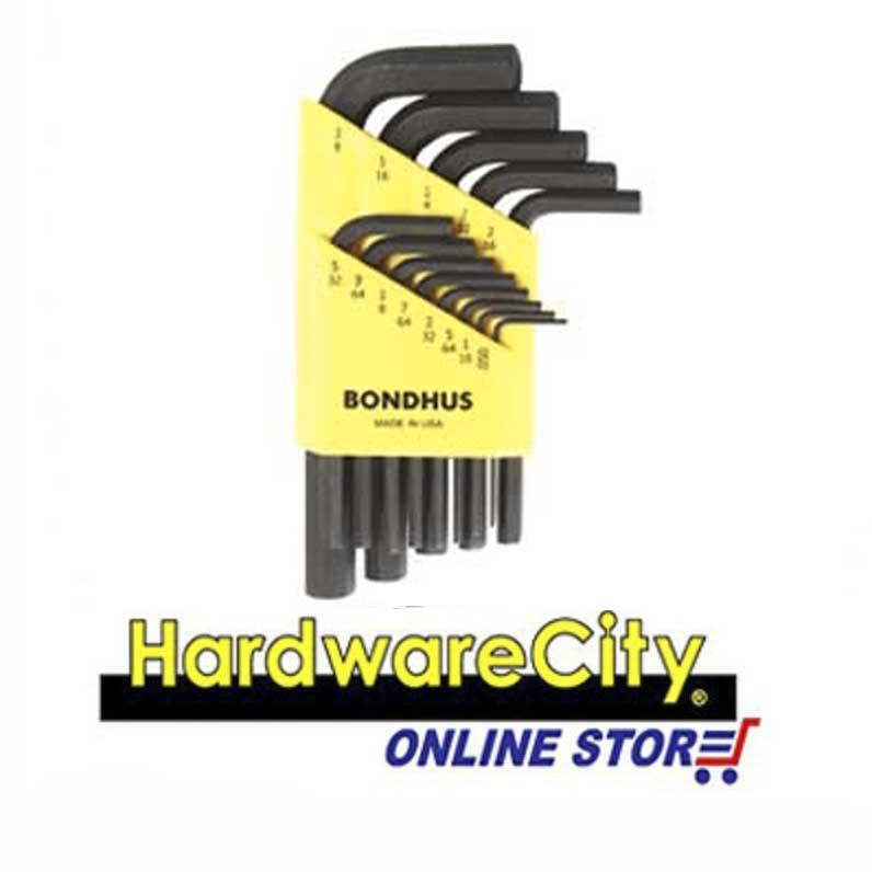 Bondhus HLX12S (Inches), 12PC Hex Key L-Wrench Set Black (Short Arm) [HLX12S]
