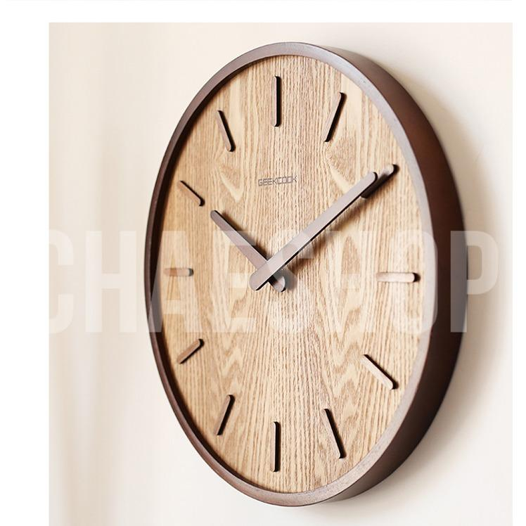 Price Geekcook Wood Clock Walnut Without Number Online Singapore