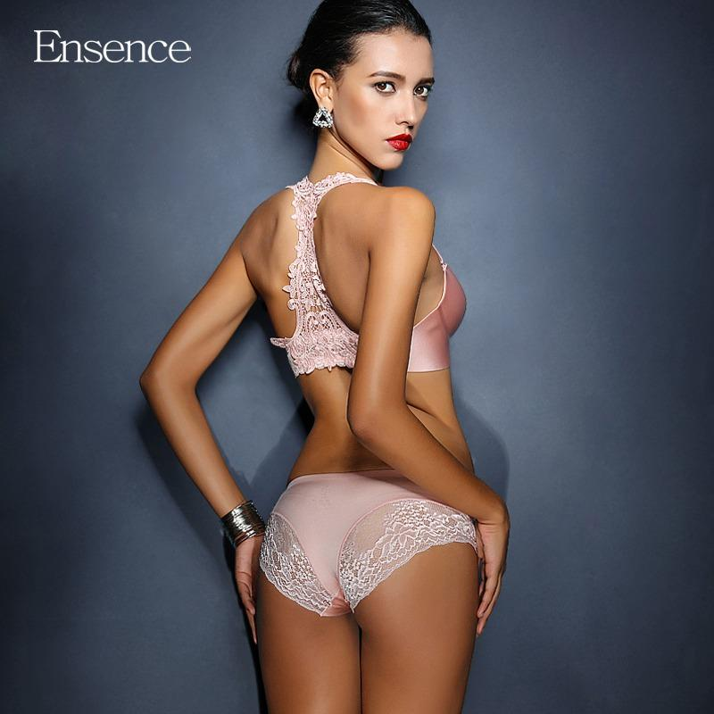 Price Comparisons Ensence Gold Color Women Wireless Underwear Front Buckle Lace Beauty Back Push Up Bra Sets For Girls Lingerie Sets