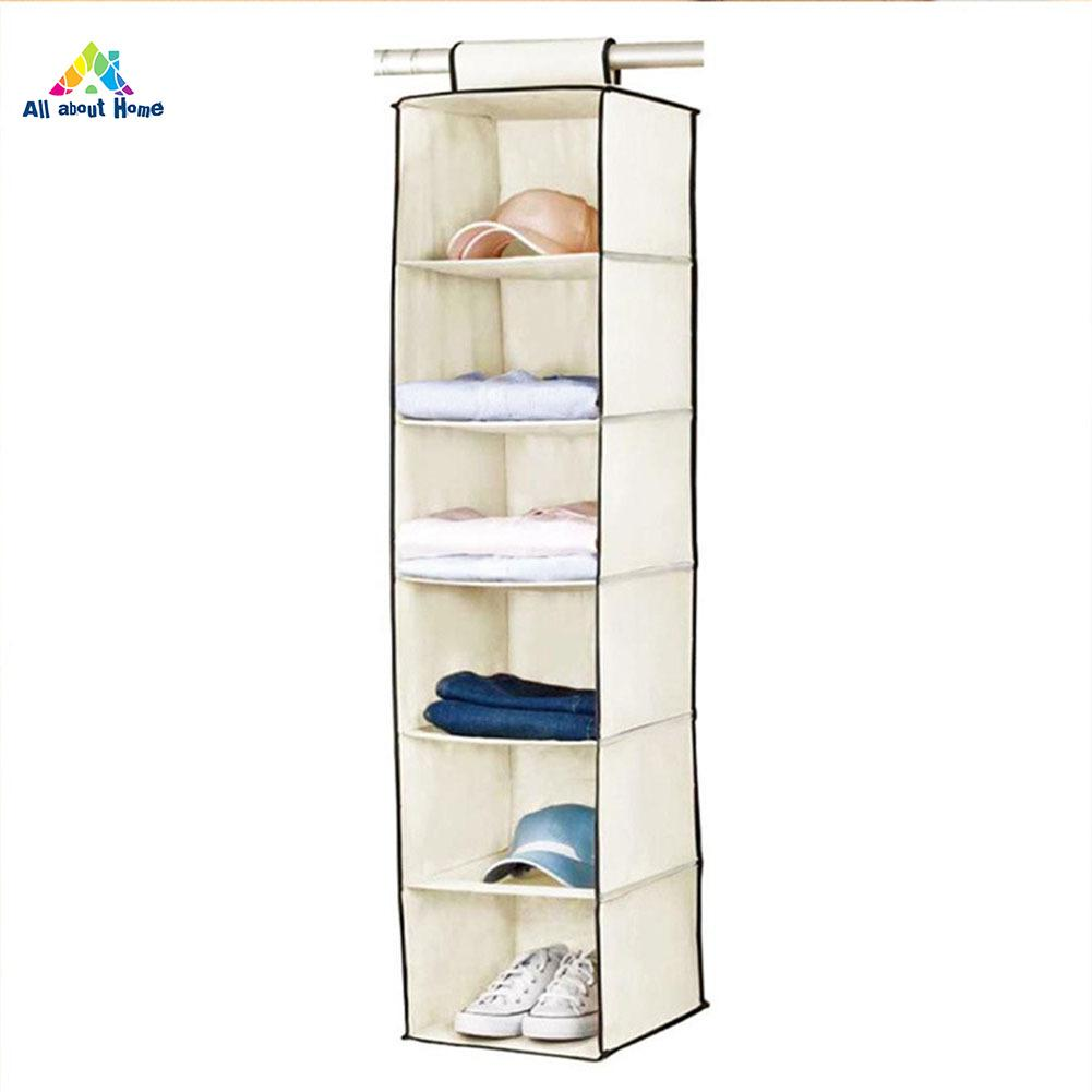 ABH 6 Pockets Wardrobe Shelf Hanging Storage Organiser Clothes Holder for Sweater Dress Jacket