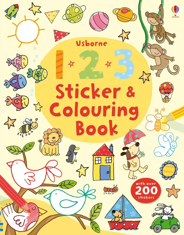 Usborne Sticker Books★Activity Book/Educational Children English Book/ Title: 123 Sticker and Colouring Book.