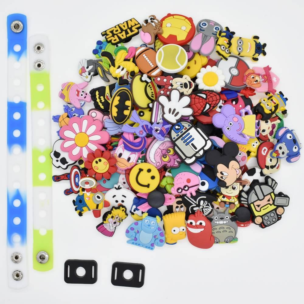 2d900c749ae0e Product details of Shoping world Lot Of 100Pcs Different Random Shoe Charms  For Croc Shoes &Jibbitz Bands Bracelet Wristband