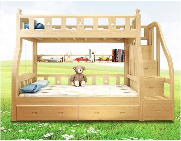 Pine Wood Kids Double Decker Storage Ladder Bed